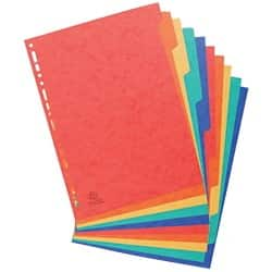 Europa Pressboard Dividers Coloured, A4 10 Part Blank Set
