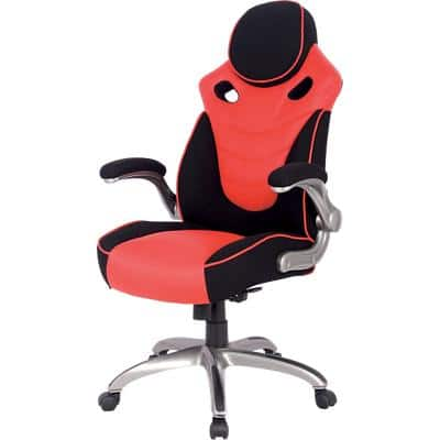 Realspace Basic Tilt Gaming Chair with 2D Armrest and Adjustable Seat HLC-1455 Bonded Leather Black, Red