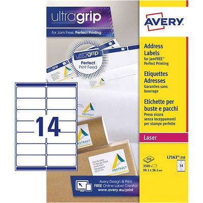 Avery L7163-250 Address Labels Self Adhesive 99.1 x 38.1 mm White 250 Sheets of 14 Labels