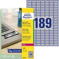 Avery L6008-20 Heavy Duty Weatherproof Silver Labels A4 Silver 25.4 x 10 mm 20 Sheets of 189 Labels