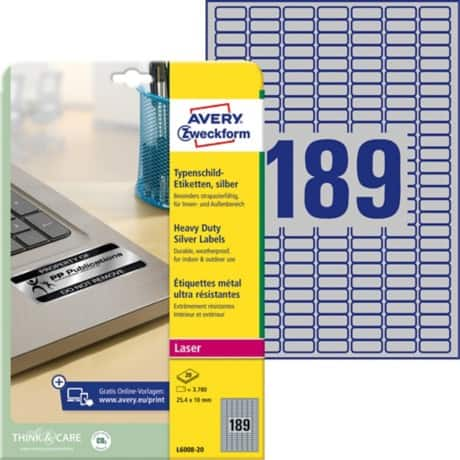 Avery L6008-20 Heavy Duty Labels A4 Silver 10.0 x 25.4 mm 189 sheets of 20 labels