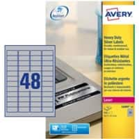 Avery L6009-20 Heavy Duty Labels  A4 Silver 45.7 x 21.1 mm 20 Sheets of 48 Labels