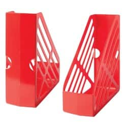 Large Capacity Plastic Magazine Files - Red