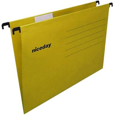 Niceday Vertical Suspension File A4 V Base 220gsm Yellow Cardboard Pack of 25