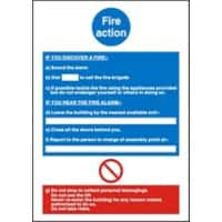 Stewart Superior Europe Sign Fire Action Instructions 15 x 20 cm