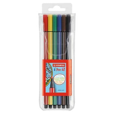 STABILO Pen 68 Felt Tip Pen Medium 1.0 mm Pack of 6 Assorted