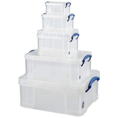 Really Useful Box polypropylene plastic storage boxes, big value five boxes in one deal in Clear