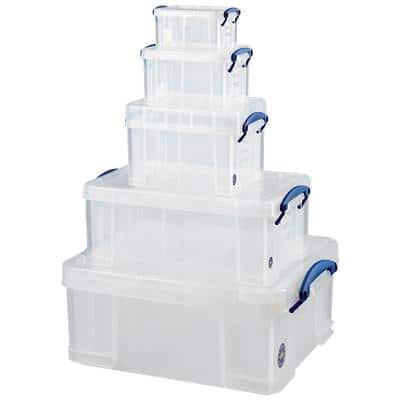 Really Useful Boxes Storage Box 5 in 1 1 x 0.7, 1.6, 3, 9, 18 L Transparent Plastic 5 Pieces