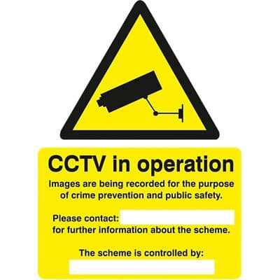 Warning Sign CCTV Cameras in Contast Operation PVC 15 x 20 cm