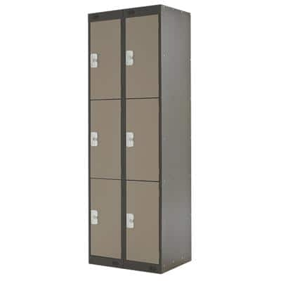 LINK51 Standard Mild Steel Locker with 3 Doors Standard Deadlock Lockable with Key 2 300 x 450 x 1800 mm Coffee & Cream