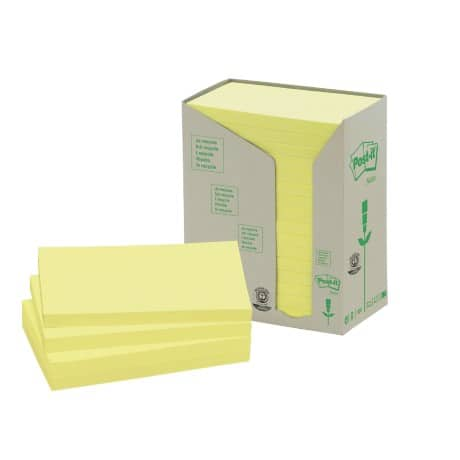 Post-it Recycled Sticky Notes Towers 655-IT Yellow No 76 x 127 mm 70gsm 16 pieces of 100 sheets
