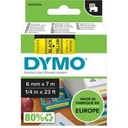 DYMO Labelling Tape 43618 6 mm x 7 m black / yellow