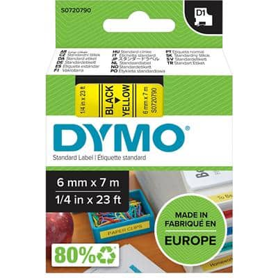 DYMO D1 43618 Label Tape, Authentic, Self Adhesive, Black Print on Yellow 6 mm x 7 m