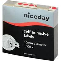 Niceday Dot Labels Self Adhesive Ø 10 mm Red 1000 Labels
