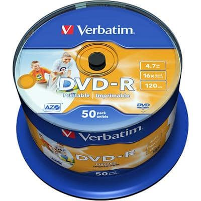 Verbatim DVD-R 16x 4.7 GB Printable Spindle Pack of 50