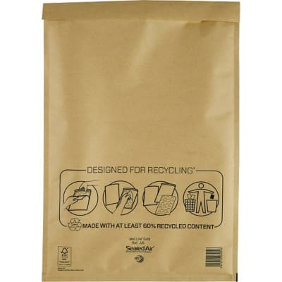 Mail Lite Mailing Bags J/6 79gsm Gold Plain Peel and Seal 440 x 300 mm Pack of 50