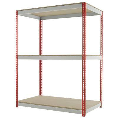 Kwik Rak Shelving Unit with 3 Shelves SX022RDGU 1500 x 900 x 1980mm Red & Light Grey