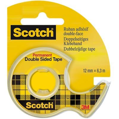 Scotch Double Sided Tape Permanent 12mm x 6.3m Transparent with Dispenser