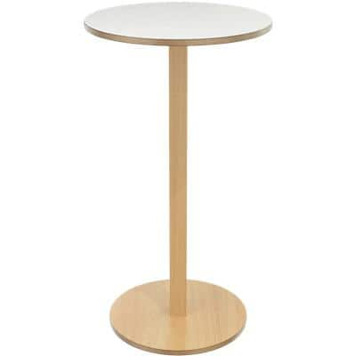 Paperflow Circular Woody Bar Table with White Veneered MDF Top 600 x 600 x 1100 mm