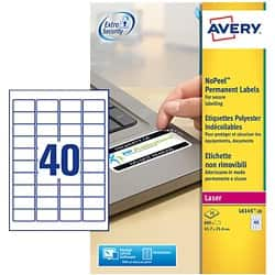 Avery L6145-20 Labels White 2.54 x 4.57 cm 40 sheets of 20 labels