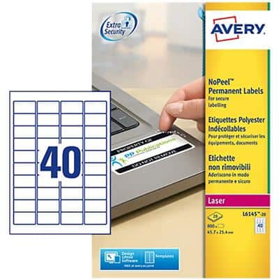 Avery L6145-20 Permanent Labels A4 White 45.7 x 25.4 mm 20 Sheets of 40 Labels