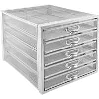 Osco Filing Drawers Silver Metal 27.5 x 35.5 x 28.5 cm