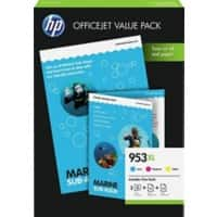 HP 953XL Original Ink Cartridge 1CC21AE Cyan, Magenta, Yellow Pack of 3 + 2 Packs of Sheets