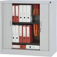 Realspace Tambour Cupboard Lockable with 1 Shelf Steel 1000 x 450 x 1000mm Grey