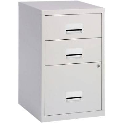 Pierre Henry Filing Cabinet with 3 Lockable Drawers Combi 400 x 400 x 660mm Silver