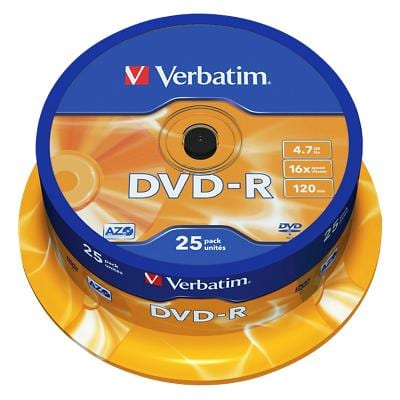 Verbatim DVD-R Matt Silver 16x 4.7 GB Pack of 25