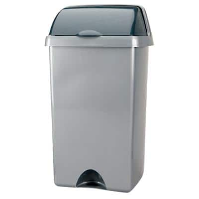 Addis Waste Bin Metallic Silver 34 x 32 x 68 cm
