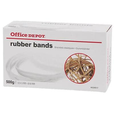 Office Depot Rubber Bands 3 x 120mm Ø 80mm Natural 500g