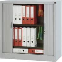 Realspace Tambour Cupboard Lockable with 2 Shelves Steel Medium High 1000 x 450 x 1000mm Grey
