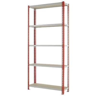 Kwik Rak Shelving Unit with 5 Shelves SX001RDGU 900 x 300 x 1981mm Red & Light Grey
