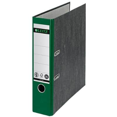 Leitz 180° Lever Arch File 1080 80 mm Marbled Cardboard 2 Rings A4 Green