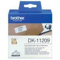 Brother Address Labels DK-11209 Black on White 29 mm x 62 mm 800 Labels