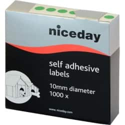 Niceday Coloured Labels Green 1000 labels per pack