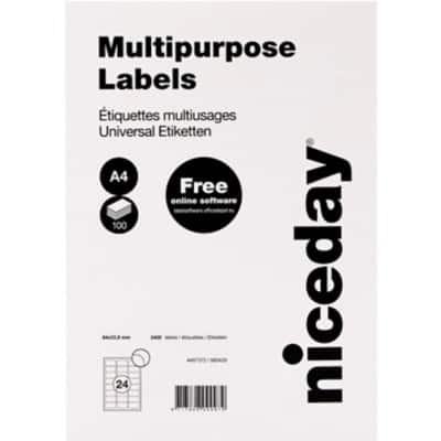 Niceday Laser Labels 64 x 33.9 mm Adhesive White 100 Sheets Pack of 2400 Labels