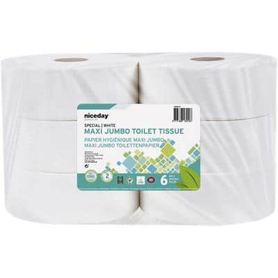 Niceday Professional Toilet Rolls Standard 2 Ply 1180 Sheets Pack of 6