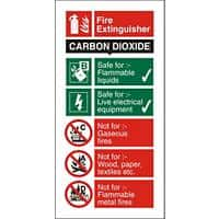 Fire Extinguisher Sign Carbon Dioxide Vinyl 10 x 20 cm