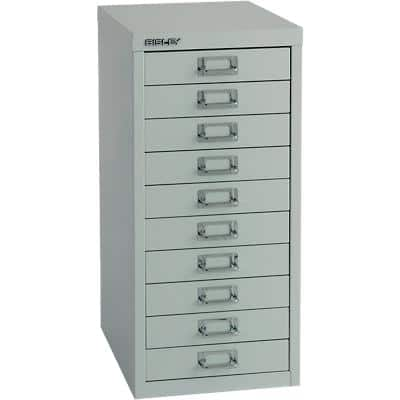 Bisley Filing Cabinet with 10 Drawers H2910NL 280 x 380 x 590mm Grey
