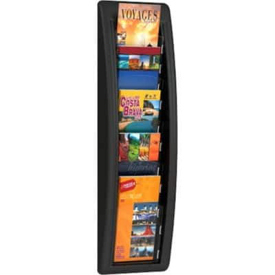 Paperflow Literature Display Wall Mounted Pocket Display 5 x 1/3 A4 Black