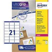 Avery L7160-100 Address Labels Self Adhesive 63.5 x 38.1 mm White 100 Sheets of 21 Labels