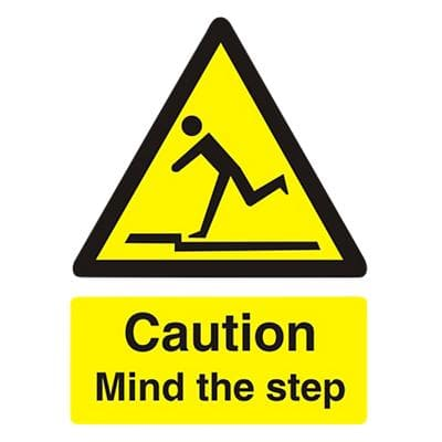 Warning Sign Mind The Step Plastic 20 x 15 cm