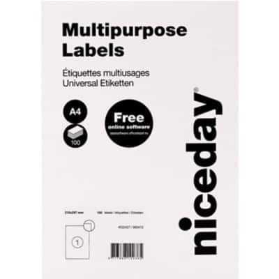 Niceday Multipurpose Labels 210 x 297 mm Adhesive White 100 Sheets Pack of 100 Labels