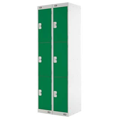 LINK51 Standard Mild Steel Locker with 3 Doors Standard Deadlock Lockable with Key 2 300 x 450 x 1800 mm Grey & Green