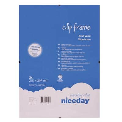 Niceday Wall Mountable Clip Frame 978922 A4 297 x 210 mm Transparent Pack of 2