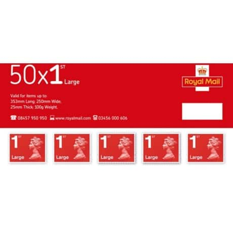 Royal Mail 1st Class Large Letter Postage Stamps 50 pieces