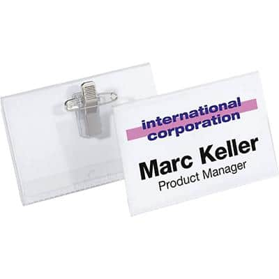 DURABLE Standard Name Badge with Combi Clip Landscape 75 x 40 mm Pack of 50