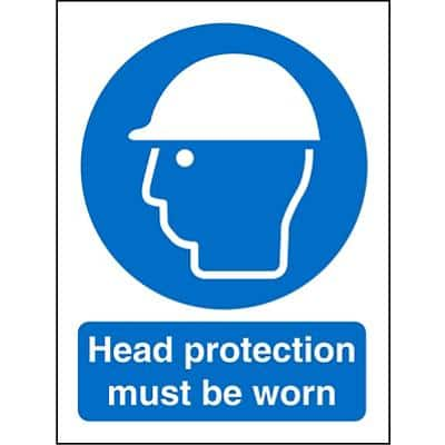 Mandatory Sign Head Protection PVC 15 x 20 cm